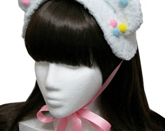 Baby Blue Bubblegum Ice Cream Bear Bonnet Headdress