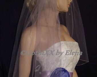 "Wedding Veil Elbow length Lavender Silver Burgundy Black Pink Beige 72"" width 26"" 28"" 30"" Length Swarovski Rhinestones Pencil Edge 27 Colors"