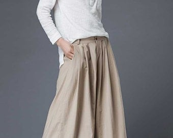 Butterscotch Linen Culottes – Classic Elegant Summer Wide-Legged Skorts Casual Handmade Woman's Pants (C870)