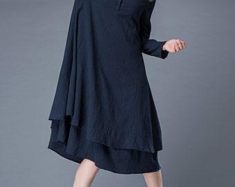 Navy Linen Dress – Navy Blue Linen Midi Summer Dress Long-Sleeved Loose-Fitting With Layered Hemline C846