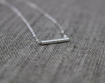 Silver bar necklace / Square tube / Tube necklace / Layering necklace