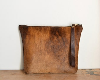 Hair on cowhide pouch, makeup bag, clutch