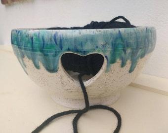 Pottery Yarn Bowl UK Knitting Bowl Handmade - ready to ship - Cream with Crystal Rim