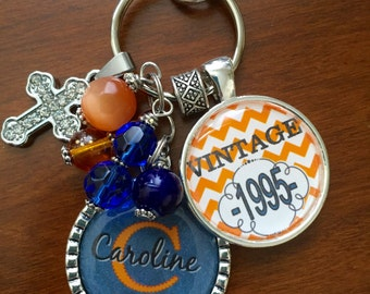 Friend Birthday gift Personalized vintage birthday necklace key chain cute bff sister daughter 40th 50th 60th orange chevron print 1976 1966