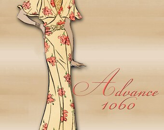 1930s Dinner Dress Pattern an Art Deco Dress with Flutter Sleeves Cape Collar and Bodice Options Plus Size 20 Bust 38 Pattern Advance 1060