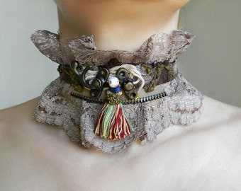 Tribal choker Tribal lace ruffle collar Unique necklace Neck corset Crocodile Leather High collar with Tassel and beads Neck cuff necklace