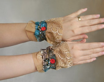 Fabric lace cuffs Victorian cuffs bracelets Fabric wrist cuffs in Teal and Brown textile jewelry armbands lace arm cuffs Lace accessories