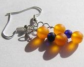 Orange and Blue Recycled Glass Minimalist Dangle Earrings