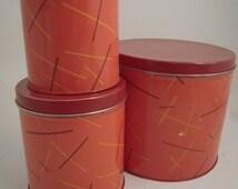 3 Vintage NESCO Tin Canisters Pantry Storage Kitchenware Kitchen Farmhouse Cottage Kitsch
