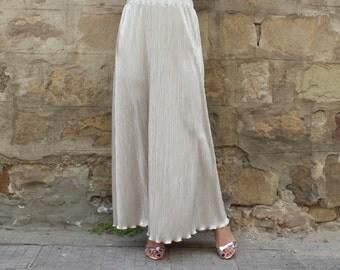 Pleated Maxi Skirt, Silver skirt, Long Skirt, Silver Maxi skirt, Party skirt, Maxi skirt, Elegant skirt