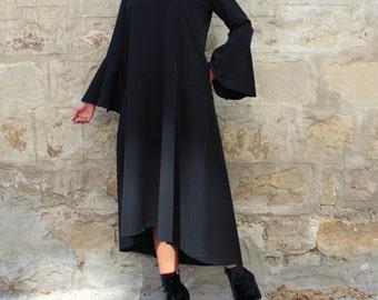 Black maxi dress/ Party Dress / Evening Dress / High Low Dress / Plus Size Dress / Long sleeve maxi dress / Black Dress/ 095.220