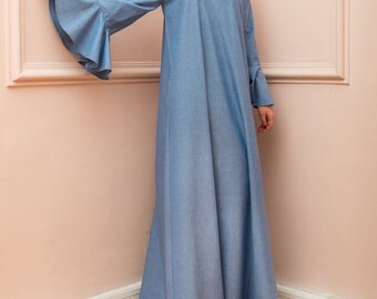 Denim Dress/ Maxi Dress/ Off shoulder dress/ Plus size Maxi Dress/ Party dress