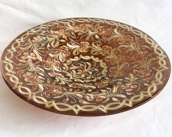 Footed hand etched vintage copper bowl, Handmade FLORAL etching, metal, catch all tray. ERZINCAN style carved Turkish folk art dish. Display