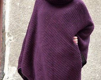 New Collection Aubergine High Collar  Knit Poncho /  Extravagant Knit  Overall / Knit  Wool Warm  Top / Oversized Top by AAKASHA A08366
