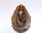 ON SALE Large Chunky Lace Infinity Scarf // The Verona // in Taupe