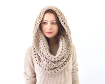 Chunky Cowl Hood Scarf // The Moscow // in Linen