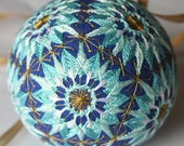 Blue stars temari ornament Unique Christmas ornament embroidered in Japanese temari technique One of a kind Christmas gift