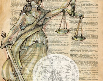 PRINT:  Justice Mixed Media Drawing on Antique Dictionary