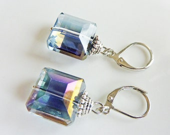 Blue Purple Square Crystal Antique Earrings