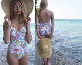 Vintage 1-Piece SWIMSUIT Monokini Peter Max NEO MAX Rose Marie Reid 80's Retro Beach Pastel Floral Print Pin-Up Woman Swimming Suit Size 10
