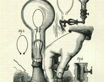 Edison Light Bulb Print Marvelous Incandescent Lamp Science Industry Electricity Science History Inventions Black and White