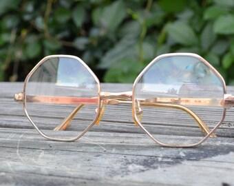 Vintage Swank granny eye glasses in gold metal frame octogon shape