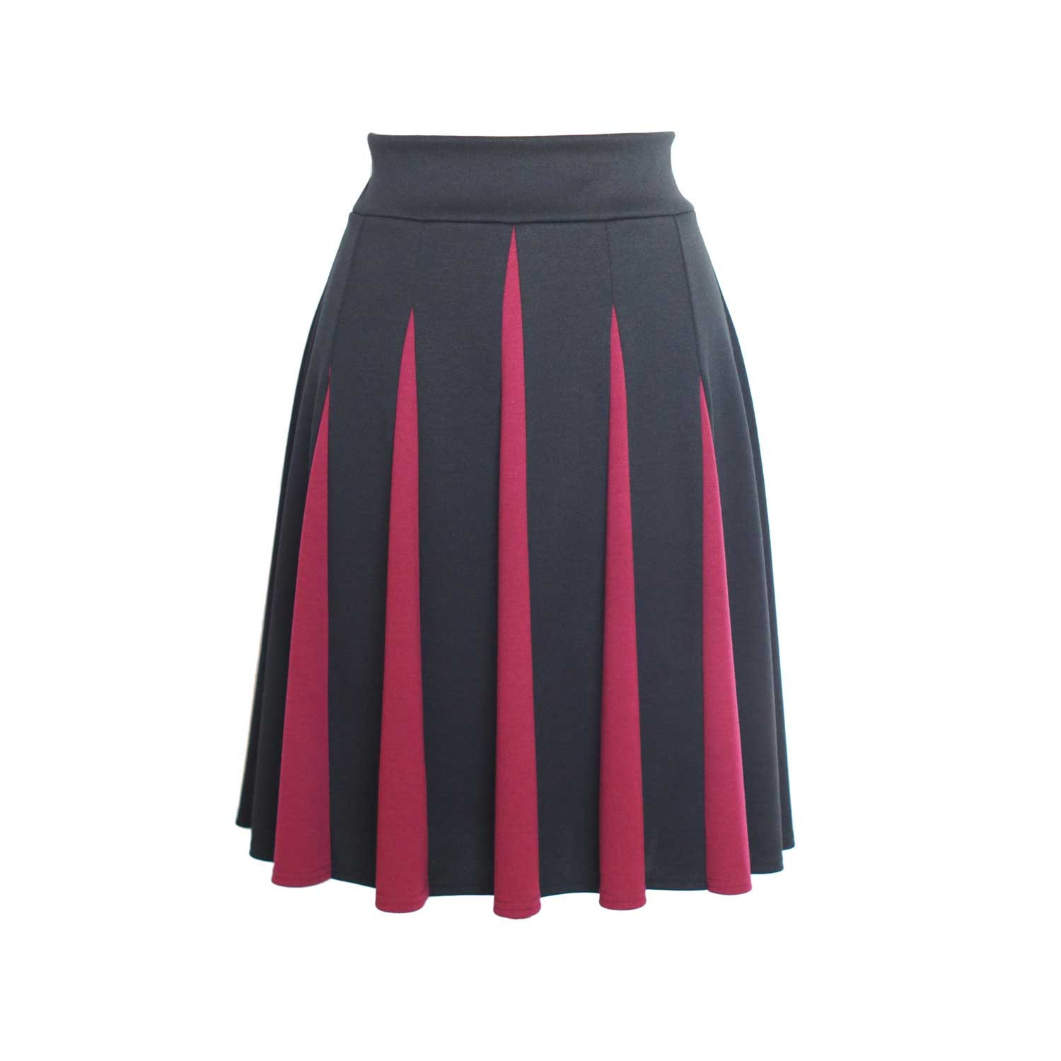 black and berry jersey skirt knee length with godets and