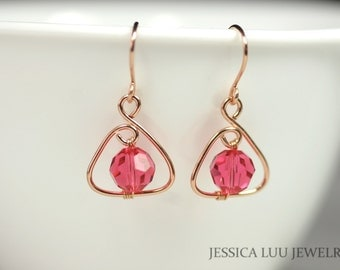 Rose Gold Pink Swarovski Crystal Earrings Pink Earrings Rose Gold Earrings Swarovski Crystal Jewelry Rose Gold Necklace and Earrings Set