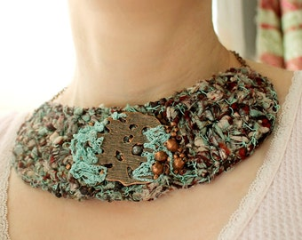 Textile Necklace, Fabric Necklace, Textile Jewelry, Fabric Jewelry, Fabric Turquoise Necklace, Copper Necklace, Recycled Silk Sari Ribbon
