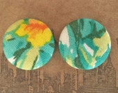 Stud Earrings / Fabric Covered Button Earrings / Bulk Jewelry / Abstract Print / OOAK / Small Gifts / Hypoallergenic
