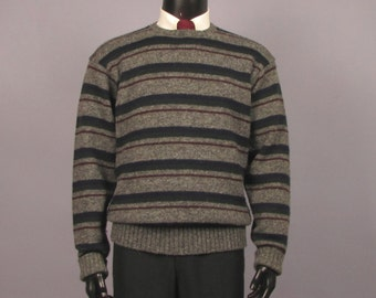 Mens Sweater -- Vintage 1980s Polo Ralph Lauren Wool Crewneck Striped Sweater Jumper -- Men's Size Large/X-Large