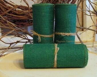 "Green Burlap, Green Burlap Ribbon, Primitive Garland 6"" Wide, Craft Supply, Rustic Burlap Christmas Garland 3 yds"