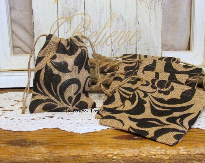 Damask Burlap Favor Bags, Burlap Bag, Damask Wedding Favors, Rustic Favor Bags, Damask Party Favor Bags, Set of 5 Handmade Rustic Gift Bags