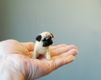 Miniature Pug Puppy, Little Dollhouse Puppy, Needle Felted Dog, Felt Pug Doll - made to order