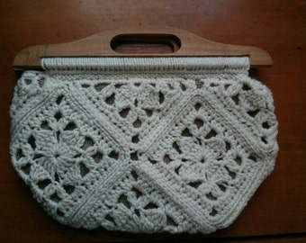 Crochet Granny Square Rounded Clutch with Antique Wooden Handles - Ready to Ship! - Fully Lined