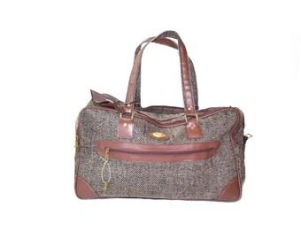 Brown Tweed Overnight Bag Brown Overnight Bag Brown Weekender Bag Carry On Bag Brown Tough Tote Shoulder Bag
