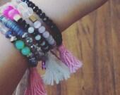Set of Initial Tassel Bracelets (Set of 4)
