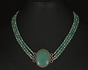 Green Aventurine multi-strand Sterling Silver necklace by Sylvan Creations