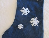 ReCycled Denim Blue Jeans Decorated Christmas Stocking - Re-purposed - Fully Lined - Large Size
