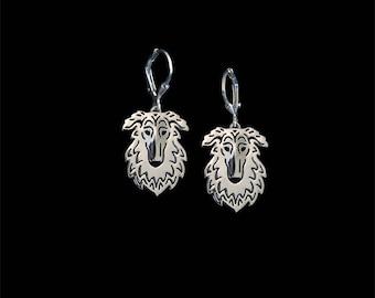 Borzoi earrings - sterling silver