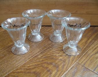 Vintage Pressed Glass Ice Cream Sundae/Parfait Glasses, Set of Four