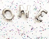 FREE SHIPPING Mini 7 inch gold silver mylar letter and number balloon - Air Fill balloons
