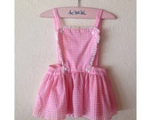 1960s Pink and White Gingham Dress, Little Girls Dress, Jumper Dress, Lace Trim, Size 3T