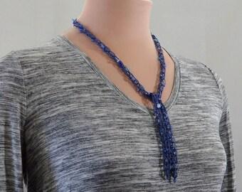 Lariat Necklace, Denim Blue Lariat Necklace, Blue Beaded Lariat Necklace, Denim Blue Y Necklace, Lacy Lariat Necklace, Lacy Y Necklace