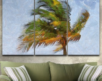 Windy Palm Canvas Gallery Wrapped Painting Wall Decor Triptych