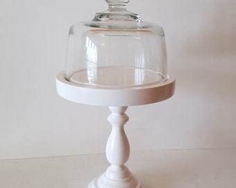Wood Dessert Stand and Dome / Cupcake stand / Cake Stand / Cheese Dome and Pedestal / Cottage Style