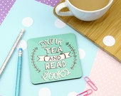 Drink Tea and Read Coaster. Book Lover. Tea and Books. Book Coaster. Read More Books. Bookworm. Literary Coaster. Literary Gifts. Library