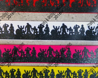 "7/8"" ZOMBIE -   Walking Dead - Black Glitter - 4 color bases  - US Designer Printed Ribbon - 1yd, 3yd or 5 yd"