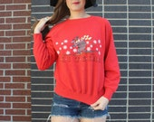 Vintage 90s Perfectly Worn In Soft Comfy Ski Texas Fun Graphic Sweatshirt