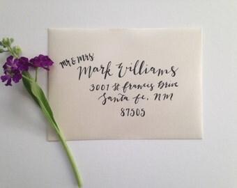 Calligraphy Wedding Invitation Envelope, Custom Hand-Addressed Invites INCLUDING RETURN ADDRESS on back flap